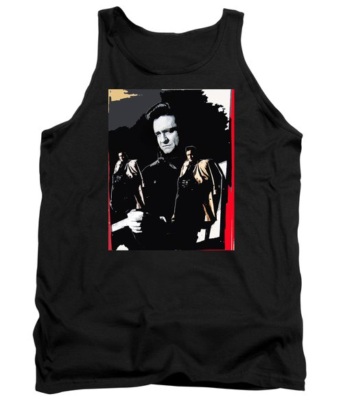 Tank Top featuring the photograph Johnny Cash Multiples  Trench Coat Sitting Collage 1971-2008 by David Lee Guss