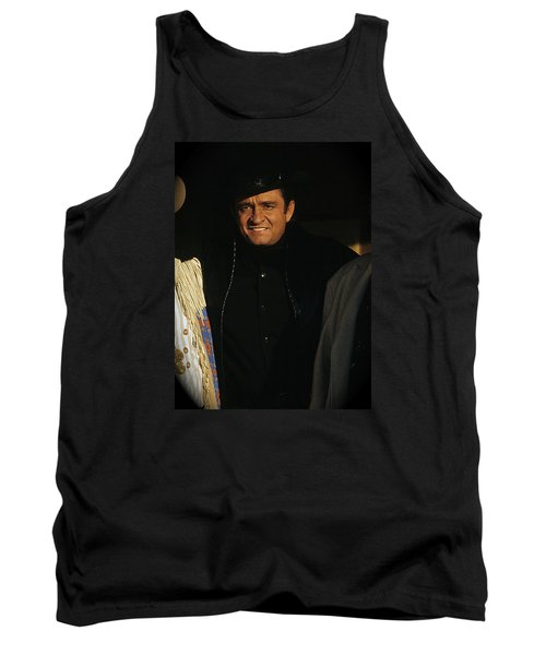 Tank Top featuring the photograph Johnny Cash Music Homage Solitary Man Flanked By Chill Wills  Andy Devine Old Tucson Az 1971 by David Lee Guss