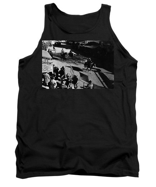 Tank Top featuring the photograph Johnny Cash Riding Horse Filming Promo Main Street Old Tucson Arizona 1971 by David Lee Guss