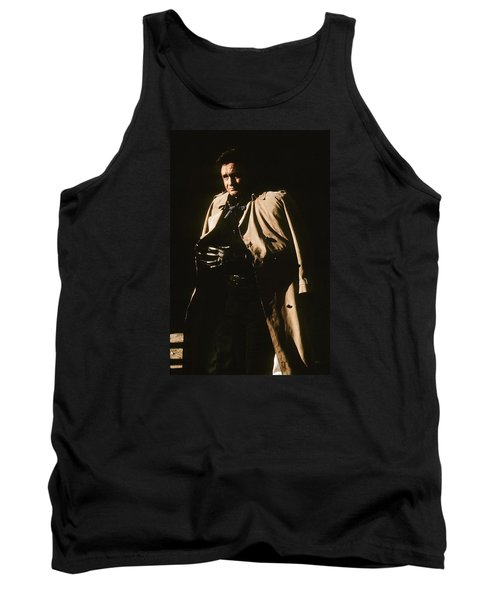 Tank Top featuring the photograph Johnny Cash Trench Coat Variation  Old Tucson Arizona 1971 by David Lee Guss