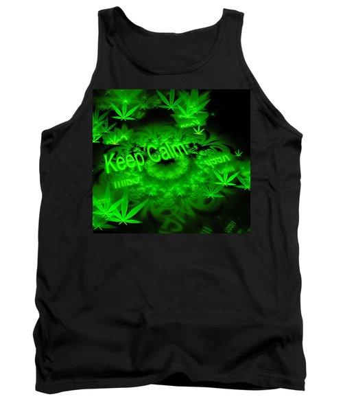 Keep Calm - Green Fractal Weed Art Tank Top
