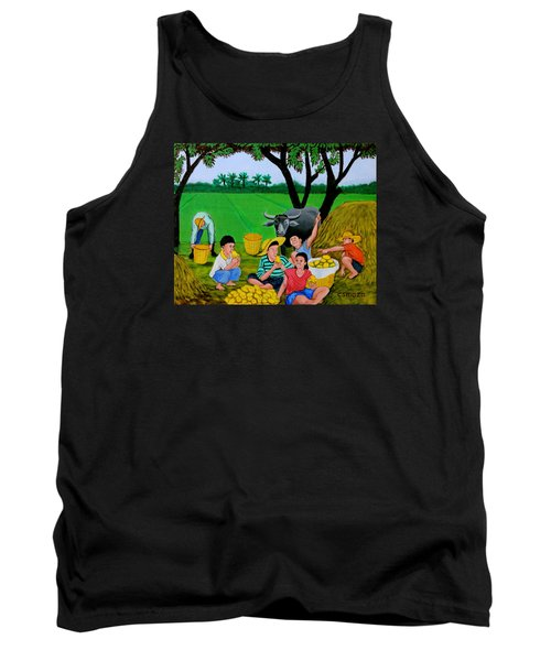 Tank Top featuring the painting Kids Eating Mangoes by Cyril Maza