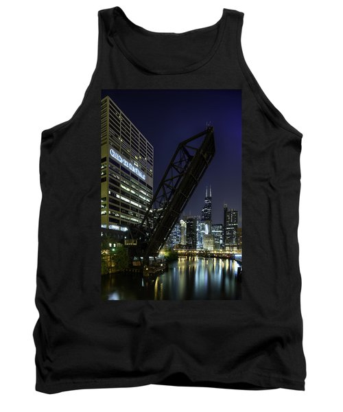 Kinzie Street Railroad Bridge At Night Tank Top