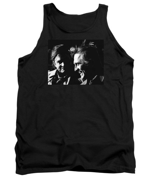 Tank Top featuring the photograph Kirk Douglas Laughing Johnny Cash Old Tucson Arizona 1971 by David Lee Guss