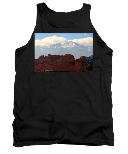 Tank Top featuring the photograph Kissing Camels Against Pikes Peak by Clarice  Lakota