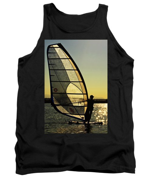 Tank Top featuring the photograph Kiteboarder Sunset by Sonya Lang
