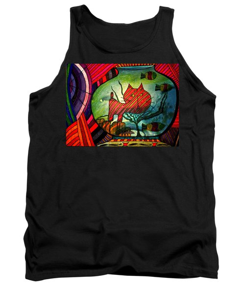 Kitty In A Fish Bowl - Abstract Cat Tank Top