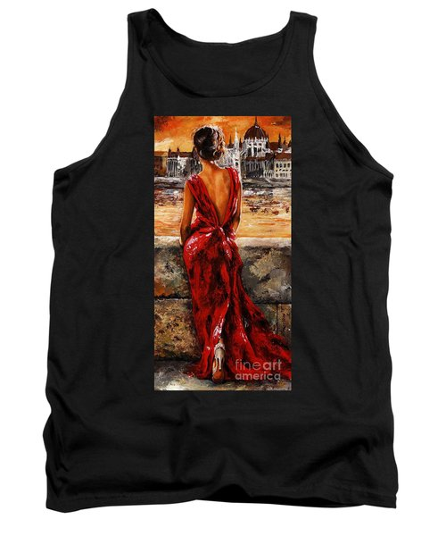 Lady In Red  34 -  I Love Budapest Tank Top by Emerico Imre Toth