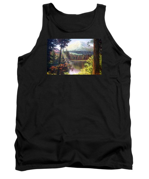 Tank Top featuring the painting Landscape-lake And Trees by Loxi Sibley