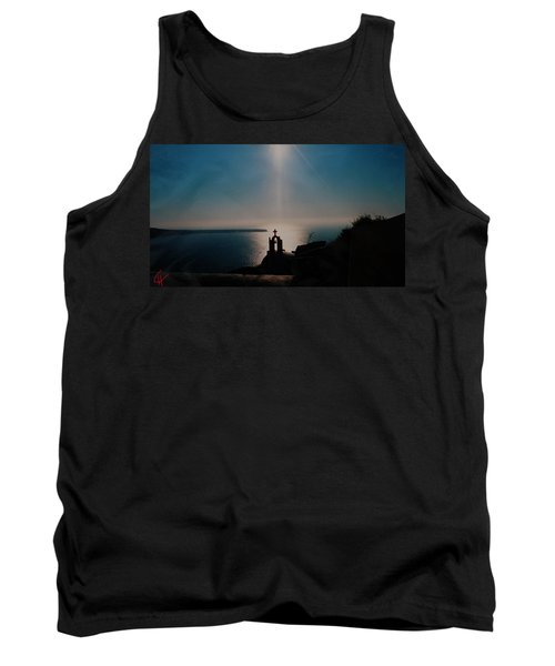 Late Evening Meditation On Santorini Island Greece Tank Top