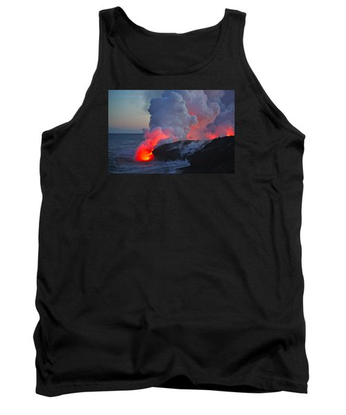 Lava Flow At Sunset In Kalapana Tank Top by Venetia Featherstone-Witty