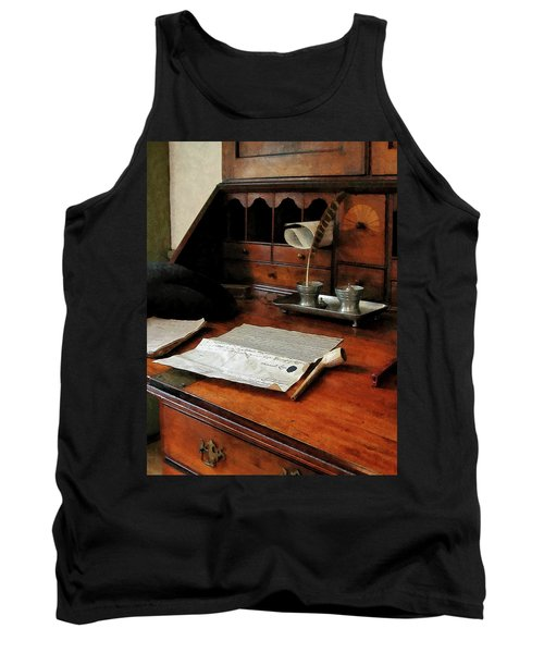 Lawyer - Quill Papers And Pipe Tank Top by Susan Savad