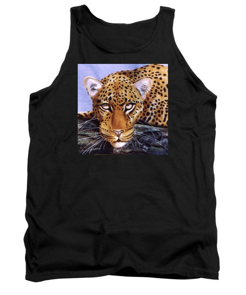 Tank Top featuring the painting Leopard In A Tree by Thomas J Herring