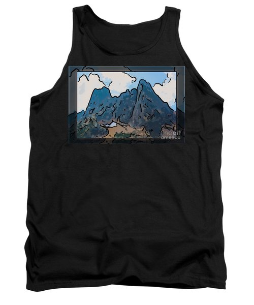Liberty Bell Mountain Abstract Landscape Painting Tank Top
