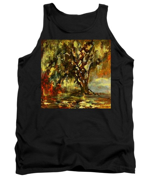 Light Through The Moss Tree Landscape Painting Tank Top