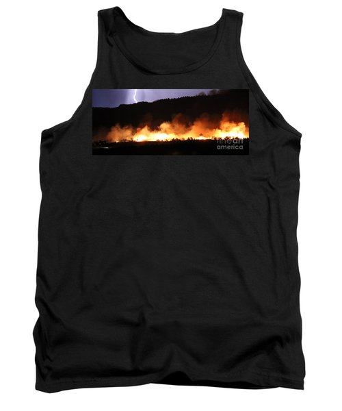 Tank Top featuring the photograph Lightning During Wildfire by Bill Gabbert
