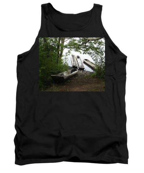 Tank Top featuring the photograph Log Canoes by Kerri Mortenson