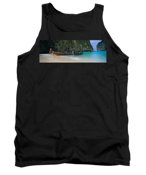 Longtail Boats Moored On The Beach, Ton Tank Top