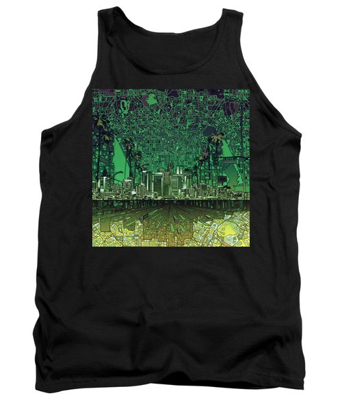 Los Angeles Skyline Abstract 6 Tank Top by Bekim Art