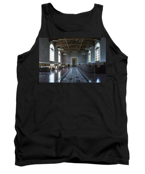 Tank Top featuring the photograph Los Angeles Union Station Original Ticket Lobby by Belinda Greb