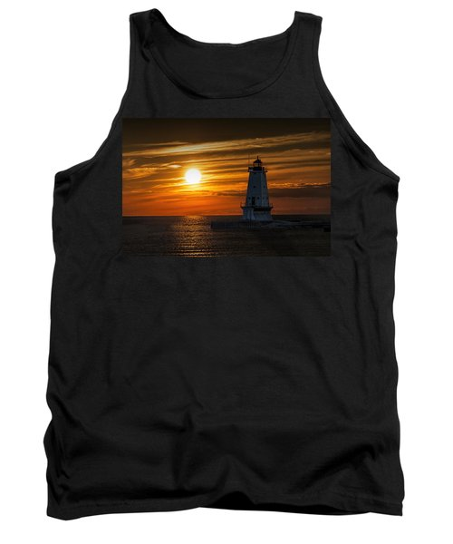 Ludington Pier Lighthead At Sunset Tank Top by Randall Nyhof