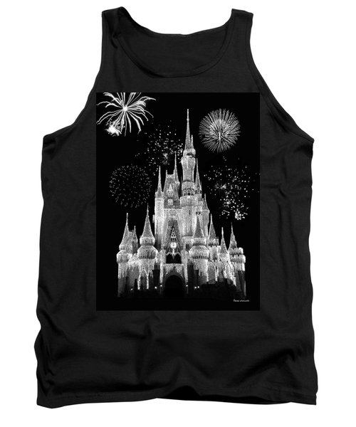 Magic Kingdom Castle In Black And White With Fireworks Walt Disney World Tank Top by Thomas Woolworth