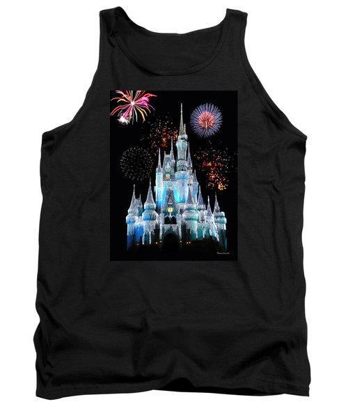 Magic Kingdom Castle In Frosty Light Blue With Fireworks 06 Tank Top