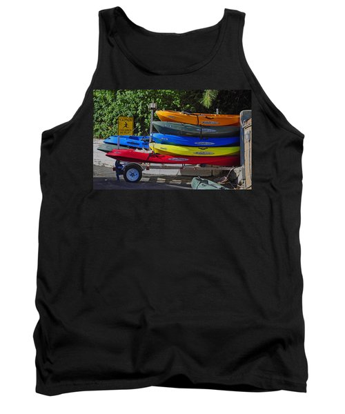 Tank Top featuring the digital art Malibu Kayaks by Gandz Photography
