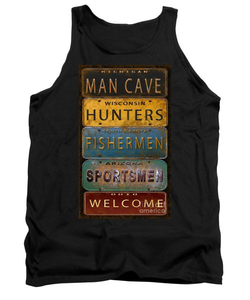 Man Cave-license Plate Art Tank Top by Jean Plout