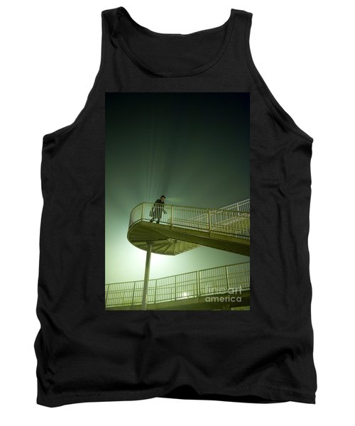 Tank Top featuring the photograph Man On Stairs With Case In Fog by Lee Avison
