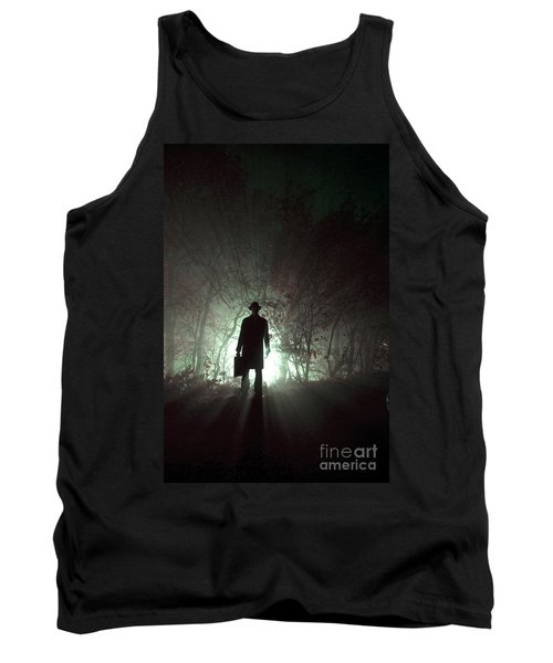 Tank Top featuring the photograph Man Waiting In Fog With Case by Lee Avison