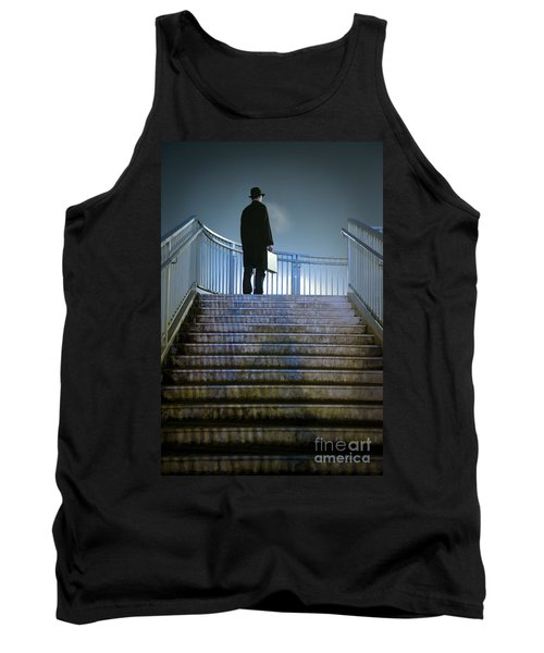 Tank Top featuring the photograph Man With Case At Night On Stairs by Lee Avison