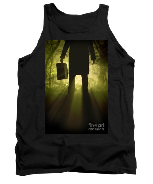 Tank Top featuring the photograph Man With Case In Fog by Lee Avison