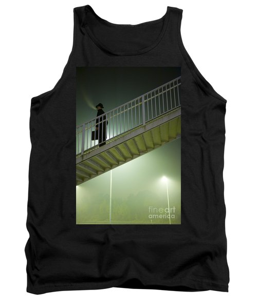 Tank Top featuring the photograph Man With Case On Steps Nighttime by Lee Avison