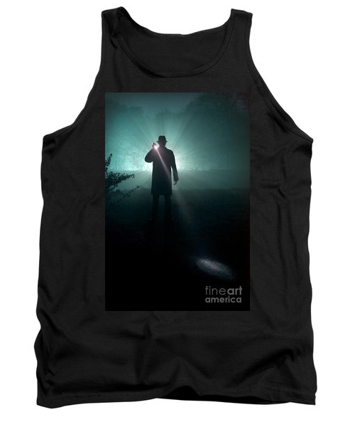 Tank Top featuring the photograph Man With Flashlight  by Lee Avison