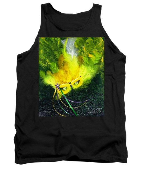 Tank Top featuring the painting Mardi Gras On Green by Alys Caviness-Gober