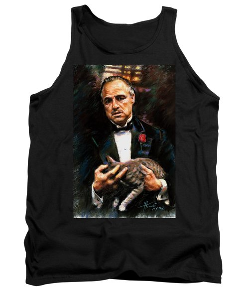 Tank Top featuring the drawing Marlon Brando The Godfather by Viola El