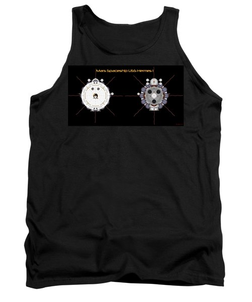 Mars Spaceship Hermes1 Front And Rear Tank Top by David Robinson