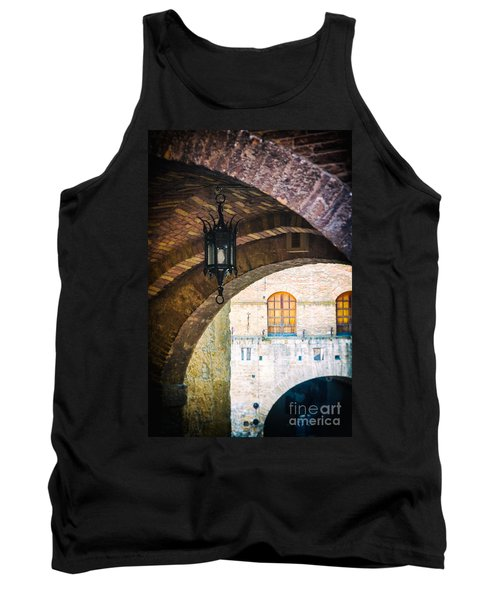 Tank Top featuring the photograph Medieval Arches With Lamp by Silvia Ganora