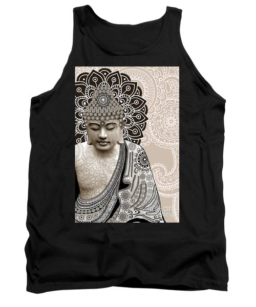Meditation Mehndi - Paisley Buddha Artwork - Copyrighted Tank Top by Christopher Beikmann