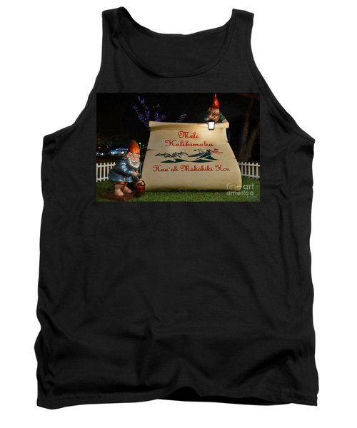 Mele Kalikimaka Sign And Elves Tank Top