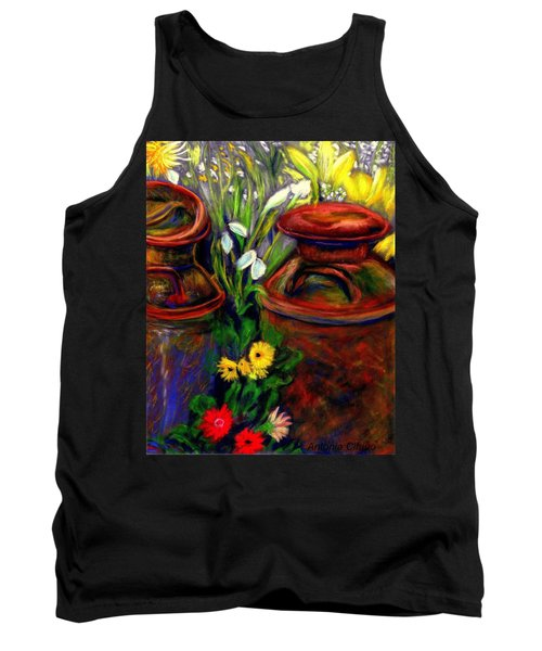 Tank Top featuring the pastel Milk Cans At Flower Show Sold by Antonia Citrino