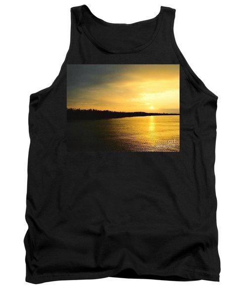 Sunrise Over The Mississippi River Post Hurricane Katrina Chalmette Louisiana Usa Tank Top by Michael Hoard