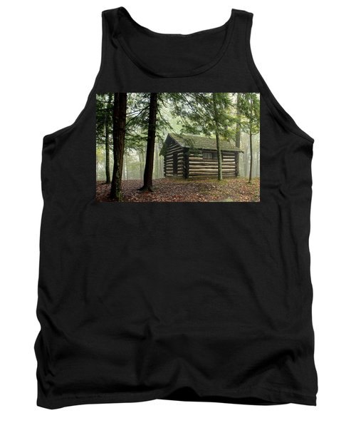 Tank Top featuring the photograph Misty Morning Cabin by Suzanne Stout