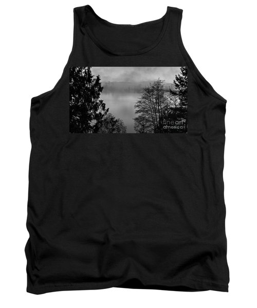 Misty Morning Sunrise Black And White Art Prints Tank Top by Valerie Garner