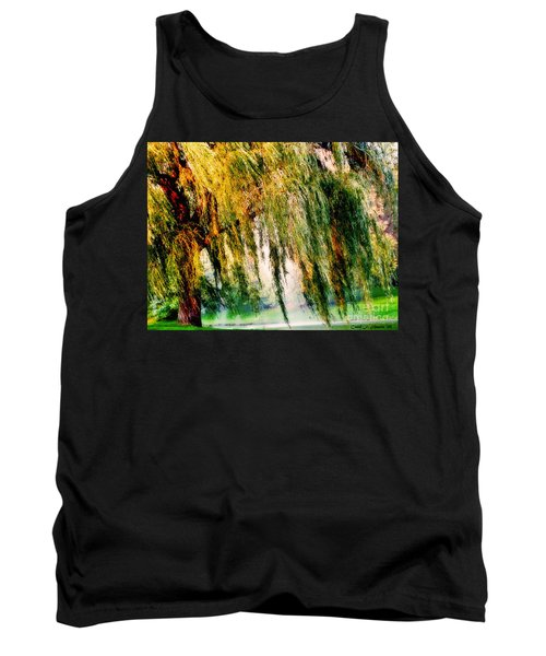 Misty Weeping Willow Tree Dreams Tank Top