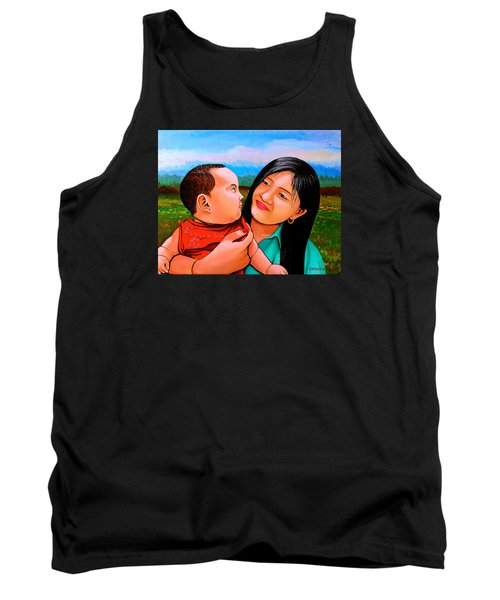 Tank Top featuring the painting Mom And Babe by Cyril Maza
