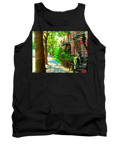 Montreal Art Colorful Winding Staircase Scenes Tree Lined Streets Of Verdun Art By Carole Spandau Tank Top