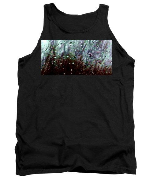 Tank Top featuring the photograph Moody Blues Rain On The Window Series 2 Abstract Photo by Marianne Dow