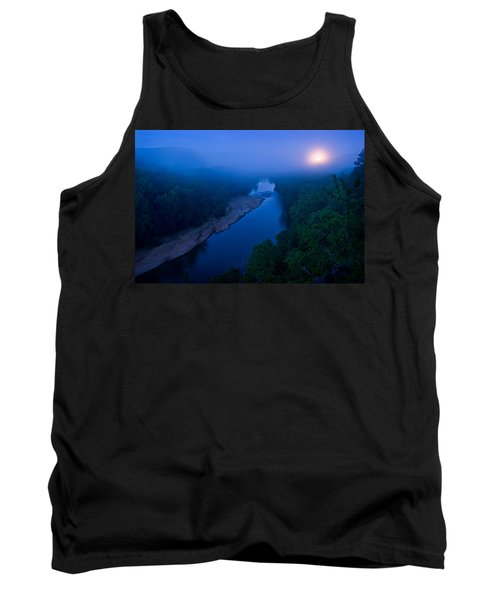Moon Setting Over The Current River Tank Top
